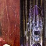 Comparaison entre la tête latente du rideau de l'Innocent X et la variante de Bacon